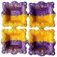 Unique Arts Designer Diyas Twin Colours Hawan Shaped Diya - Set Of 4 Diyas