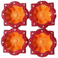 Unique Arts Designer Diyas Twin Colours Unique Shape Diya - Set Of 4 Diyas