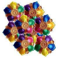 Unique Arts Designer Diyas Multicolour Petals Shaped - Set Of 8 Diyas