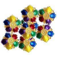 Unique Arts Designer Diyas Multicolour Petals With Kundan Work - Set Of 8 Diyas