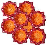 Unique Arts Designer Diyas Twin Colours Unique Shape Diya - Set Of 8 Diyas