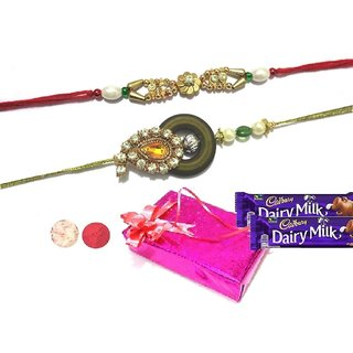 Fancy raksha bandhan Rajashthani Premium Design rakhi For Bhaiya Gift Set