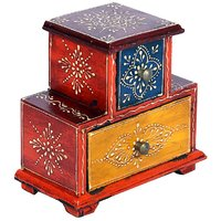 Wooden Embosed Hand Painted Two Drawer Box