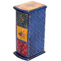 Wooden Vertical Embossed Hand Painted Three Drawer Box