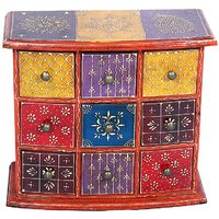 Wooden  Nine Drawer Box With Multicolour Embossed Painted