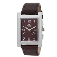 Fogg Square Dial Brown Leather Strap Mens Watch