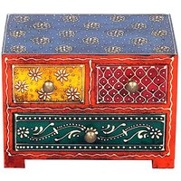 Wooden Hand Painted Three Drawer Box