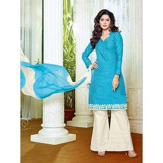 Sareemall Sky Blue Embroidered Dress Material Suit with Matching Dupatta 2PNK201