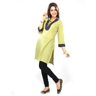 Dee Paris Mehndi Green cotton Kurti