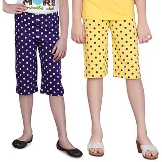 SINIMINI GIRLS COLORFUL CAPRI(PACK OF 2)SM1400_PURPLE_SM777_GYELLOW