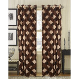 TDKL Best Quality Dashing Brown Square Box Design Curtain (Set Of 2) 4x7 Feet