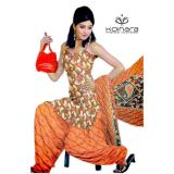 Koinara Designer Brown Light Apricot Cotton Dress Material