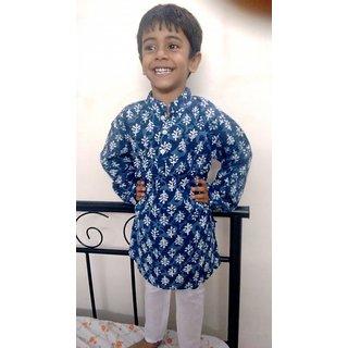 Bijou Boys Sanganeri Printed Blue Kurta Pajama