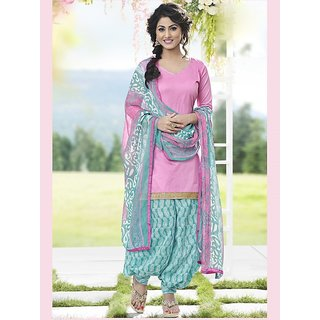 Saree Mall Pink Printed Dress Material with Matching Dupatta SDP9003