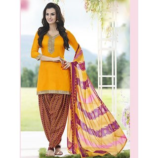Saree Mall Yellow Printed Dress Material with Matching Dupatta SDP9008