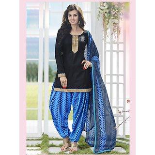 Sareemall Beige Dupion Silk Lace Salwar Suit Dress Material