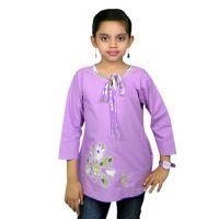 Ssmitn Pretty Purple Top With Flower Applique