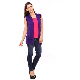 Vvoguish Cotton Blends Purple Shrug
