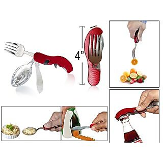 4-in-1 Pocket Cutlery Set of Spoon, Fork, Knife  Opener for Travel  daily use.