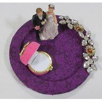 Ring Ceremony Tray Pink Kundan Rose Ring Holder