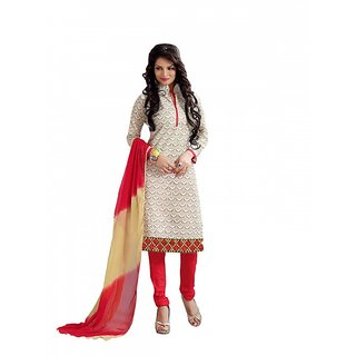 Sareemall Blue Polycotton Lace Salwar Suit Dress Material