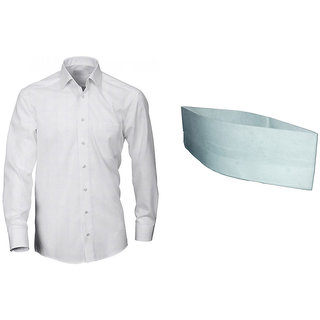 Formal Plain PC Cotton Shirt With Gandhi Topi