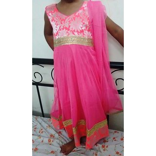 Bijou Kids Designer Anarkali Suit Set - Pink