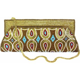 Latest Stylish Women Beads Peacock Wing Embroidery Clutch Gold Blue Red Bride