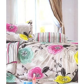 Valtellina Artful Flowers Print 2 Single Bed Sheet With 2 Pillow Cover (PRF2S-2)