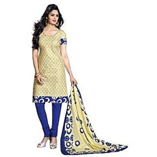 Drapes Blue Dupion Silk Lace Salwar Suit Dress Material
