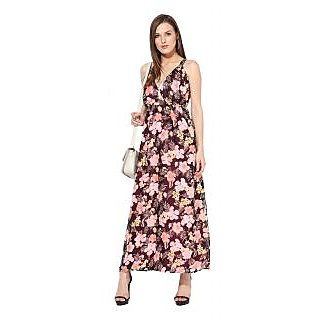 Rose Vanessa Peach flower Brown strapy Maxi