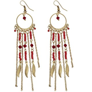 Swan Statement Dangler earrings in Red and Gold for Women
