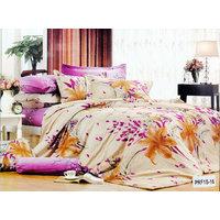 Valtellina Brown Daffodil Print 2Single Bedsheet With 2 Pillow Cover (PRF2S-16)