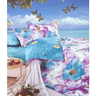 Valtellina Spunky Flower Print 2 Single Bedsheet With 2 Pillow Covers (PRF2S-24)