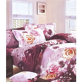Valtellina Hedgerow Rose Print 2 Single Bedsheet With 2 Pillow Cover (PRF2S-27)