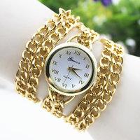 Typify Gold Color Bracelet Steel Chain Wrap Quartz Watch