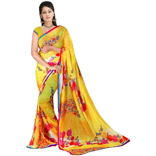 D R Fabrics Printed Yellow Faux Georgette Casual Saree