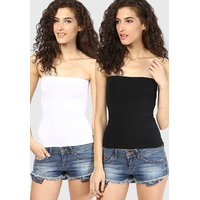 Black,White Viscose Strapless Sleeveless Tube Tops For Women (Pack Of 2)