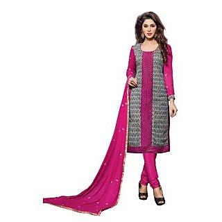 Sareemall Pink & Black Embroidered Dress Material with MatchingDupatta 4STR46012