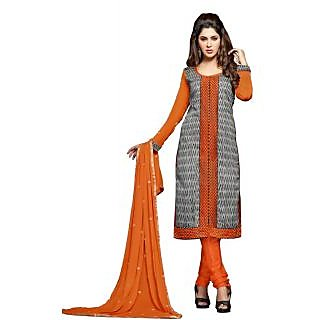 Sareemall Orange&Black Embroidered Dress Material with MatchingDupatta 4STR46013