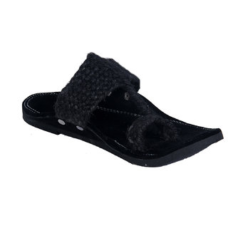 Panahi Mens Jute Velvet Black Slipper