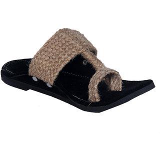 Panahi Mens Jute Velvet Brown Sandal