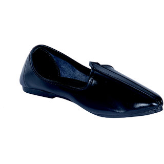 Panahi Mens Black Slip On Ehnic Shoe