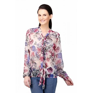 Sierra Women Floral Pink/Grey georgette neck tie top
