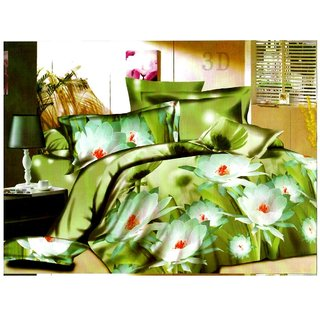 Little Joy Beautiful 3D Printed Double Bedsheet with 2 Pillow Cover