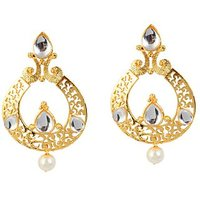 Kriaa Gold Plated  Gold Dangle Earrings For Women