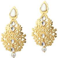 Kriaa Gold Plated kundan Pearl Drop Golden Earrings - 1305009