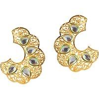 Kriaa Green Meenakari Gold Plated Kundan Earrings