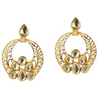 Kriaa Gold Plated Kundan Earrings  -  1305006