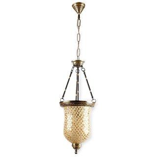 Golden Mosaic Glass Bell Jar Hanging Light